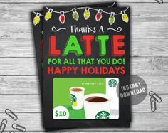 Teacher Appreciation Gift Idea / Gift For Teacher / Daycare / Coach / End Of Year School Gift / Teacher Appreciation Week / Thank You / Christmas / Thanks A Latte / Happy Holidays / Gift card Holder Christmas Thank You Gifts, Christmas Gift Card Holders, Teacher Christmas Gifts, Holiday Gifts, Fun Gifts, Daycare Teacher Gifts, School Gifts, Daycare School, Teacher Presents