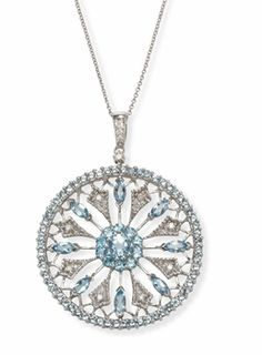 Round Medallion Diamond and Aquamarine Necklace and Pendant in 14k White Gold