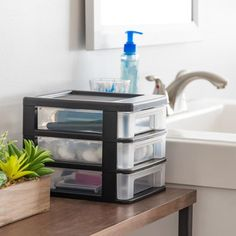 IRIS 3 Compartment 3 Drawers Black Stackable Plastic Drawer in the Storage Cubes & Drawers department at Lowes.com Plastic Drawer Organizer, Plastic Drawers, Drawer Organisers, Storage Cubes, Storage Drawers, Storage Spaces, Small Bathroom, Bathroom Ideas, Mobile Storage