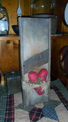Primitive Old Slaw Cutter Attic Valentine Heart Cheese Cloth Pantry