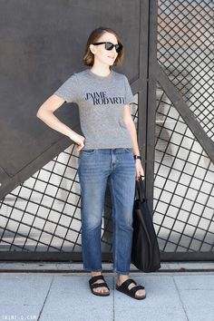 Discover this look wearing Black Celine Bags, Sky Blue Acne Jeans, Black Ray Ban Sunglasses - RODARTE by toutlamode styled for Classic, Everyday in the Spring Acne Studios, Birkenstock Outfit, Birkenstock Arizona, Chic Outfits, Fashion Outfits, Kurti Designs Party Wear, Adidas Shoes Women, Minimal Outfit, Vintage Jeans
