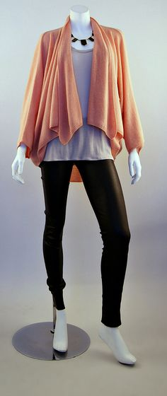 Minnie Rose Cocoon Cardi, Vince Tank and Alice + Olivia Leather Leggings