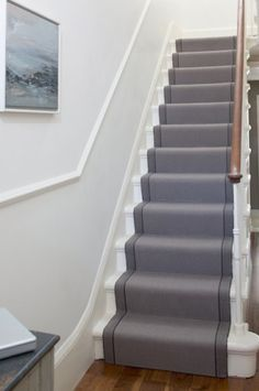 Simple, clean and on-trend, this Roger Oates stair runner creates an elegant and simple statement. Roger Oates stair runners are supplied and fitted by The Silkroad Flooring, Haslemere, Surrey Front Stairs, House Stairs, Carpet Stairs, Hall Carpet, Edwardian Hallway, Flooring For Stairs, Basement Stairs, Stair Landing, Quartos