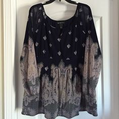 """Pretty INC Top. Pretty navy blue blouse with long sleeves. Body is lined, arms sheer. Approx 2"""" gathered band at waist. Worn maybe twice, looks unworn. INC International Concepts Tops Blouses"""