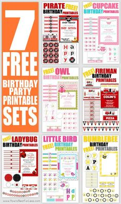 FREE Birthday Party Printable Sets! Themes: pirate, cupcake, owl, fireman, ladybug, bird, and bumblebee!