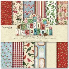 NEW 1 OF EACH DESIGN 16 SHEETS DOVECRAFT VINTAGE NOEL PAPERS 6 X 6 SAMPLE PACK