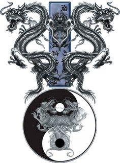 Yin and Yang - Tao Dragons Feng Shui, Tiger Dragon, Green Dragon, Yin Yang Art, Yin Yang Tattoos, Chinese Dragon Tattoos, Year Of The Dragon, Dragon Artwork, Dragon Tattoo Designs