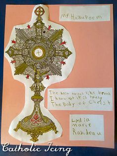 Free monstrance download to write a Eucharistic haiku poem. Great activity for First Communion! :-)