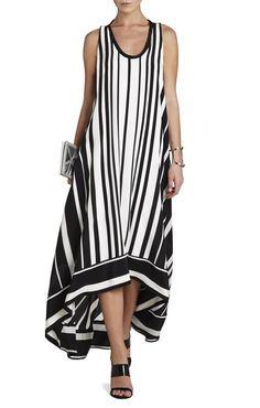 Gia Vertical-Striped Maxi Dress   BCBG