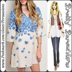 """NWT Ivory & Blue Floral Print Tie Waist Dress NWT Ivory & Blue Floral Print Tie Waist Dress  Available in sizes: S, M, L, XL Measurements taken in inches from a size small:  Length: 32"""" Bust: 36""""  Features:  • v-neckline  • beautiful floral print all over • 3/4 sleeves  • relaxed fit • tie waist  • pull over design   Bundle discounts available  No pp or trades Pretty Persuasions Dresses Mini"""
