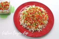 Festive Layer Dip Adding a mix of green & red pepper will bring the holiday season to your table. A great appie for any holiday event. Easy Holiday Recipes, Easy Recipes, Easy Meals, Layer Dip, Red Peppers, Dips, Festive, Layers, Veggies