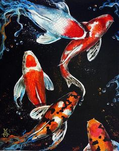 Koi Poster featuring the painting Harmony by Marco Antonio Aguilar Art Koi, Fish Art, Fish Fish, Inspiration Art, Art Inspo, Koi Kunst, Harmony Art, Koi Painting, Art Asiatique