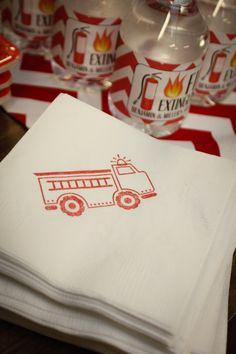 Firetruck Beverage Napkins / Set of 50 / by littlechicklets, $12.50
