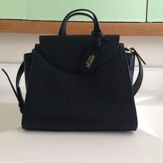 Kate Spade Saturday The Mini A Satchel BRAND NEW. Small leather cross body satchel with top zippered closure, two external flap pockets, one labeled interior pocket, jacquard lining, metal hardware, removable cross body strap. Dust bag included. kate spade Bags Satchels
