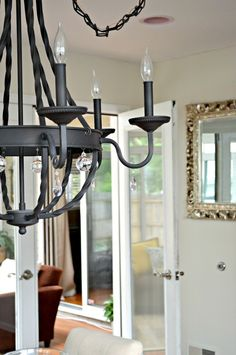 Inspired Wives: Rustic Iron Chandelier with DIY Crystals