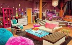 Icarly room with ice cream sand which chair and trampoline In front of the bed with gummy bear lamp and electronic closet
