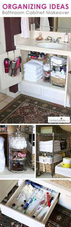 Get organized and clean with these GREAT Organizing Ideas for your Bathroom! Cabinet Organization Makeover - Before and After photos. Fun ideas for small spaces under your sink. LivingLocurto.com