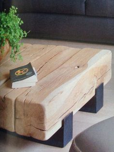 Timber Furniture, Solid Wood Furniture, Home Decor Furniture, Custom Furniture, Furniture Design, Log Table, Table Cafe, Coffe Table, Deco Originale