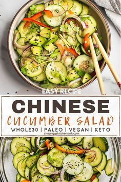 My dad's AUTHENTIC CHINESE CUCUMBER SALAD RECIPE that i ate growing up in China. It is SO refreshing and flavorful. I recently started making it since it reminds of my home Chinese food. It is so easy… Healthy Side Dishes, Side Dishes Easy, Healthy Sides, Wheat Free Recipes, Healthy Gluten Free Recipes, Healthy Appetizers, Healthy Snacks, Easy Chinese Recipes, Cucumber Salad