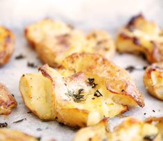 Smashed Crispy Thyme Potatoes. These potatoes are the perfect mix. Creamy soft centres with crisp crunchy edges. Seasoned well with sea salt and thyme they make the perfect accompaniment to so many meals.