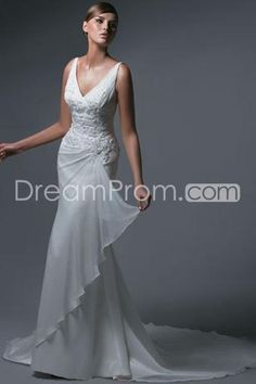 Pretty Trumpet/Mermaid V-Neck Floor-length Chapel Chiffon Wedding Dresses(3AC0115)