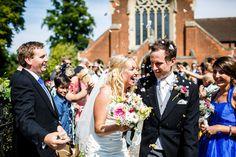 Bride & Groom Church Confetti Exit | Ian Stuart Bridal Gown | Rustic Wedding in a Barn in | Hand Sewn Cobalt Blue Bridesmaid Dresses | DIY Wild Flowers | Images by Lina & Tom | http://www.rockmywedding.co.uk/emily-luke/