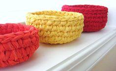 Crocheted Nesting Rag BasketsHandmadeRed Yellow by RoseJasmine, $27.00