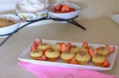 sausage pancake bites with strawberries