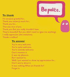 Learn how to be polite when thanking someone and also how to answer when someone as thanked you.