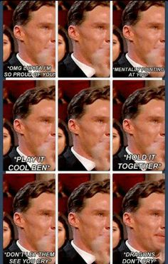 """Ben crying at Lupita's acceptance speech. Kinda failing at the """"conceal don't feel"""" thing. He's just so precious."""