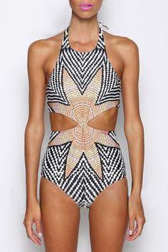 High-Neck Striped One-Piece Swimwear WHITE: One-Pieces | ZAFUL