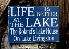 Lake Decor, Lake House Sign, Lake Life, Family Name Personalized Cabin Wood Signs, Life Is Better At The Lake Personalized Rustic Wooden Plaque