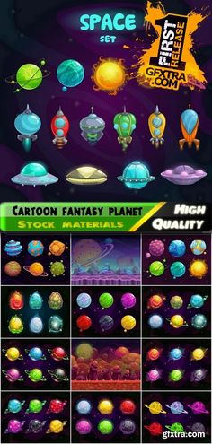Colorful cartoon fantasy planet in space - 25 Eps