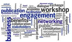 A word cloud highlighting terms such as 'engagement', 'dialogue' and 'workshop'