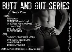 "9 of my favorite moves for 2 of your favorite areas. Week one in the hugely popular ""Butt and Gut"" series on Tone-and-Tighten.com"