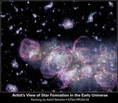 Star birth in the early universe, artwork. This billion-year-old universe is based on deep field observations by the Hubble Space Telescope. Cosmos, Hubble Space Telescope, Space And Astronomy, Space Planets, Nasa Space, Telescope Images, Stars Night, Space Photos, Space Images