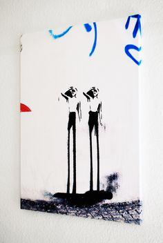 Two Men 60x80x2 cm Berlin, Urbane Kunst, Two Men, Street Art, Wall Canvas, Monochrome