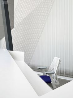 Stainless-steel wires, secured to turn-buckles, run from floor to ceiling behind the reception desk—and a chair—at the CHK Central Boathouse in Oklahoma City by Rand Elliott. Interior Design Magazine, Office Interior Design, Office Interiors, Interior Decorating, Polished Concrete Flooring, Steel Panels, Workplace Design, Green Rooms, Stainless Steel Wire
