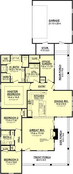 Shorten back end...mbath too big. 😊Country Floor Plan - Main Floor Plan Plan #430-56