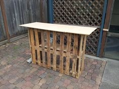 Tiki bar made from pallets! Needs better top and some of that mesh fencing around front and sides to hide the pallet and could be really cool.