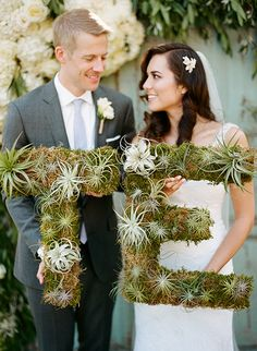 Succulent letters | Photo by Clayton Austin | Event design Dana Gabriel | Florals by Wendy Smith | Read more - http://www.100layercake.com/blog/?p=74349