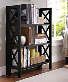 Look what I found on #zulily! Black Three-Shelf Folding Bookcase by Linon Home #zulilyfinds