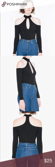 American apparel cut out top black Completely new. Just bought it 2days ago. It comes without tag originally. My head was too big to go through the neck part. American Apparel Tops