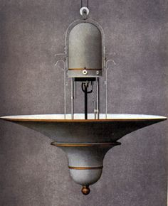 Peter Behrens for AEG, Model No. 67216 Enameled and part gilded metal mounts and shade. c.1907