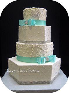 Tiffany blue bling wedding cake