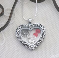 Grandma Heart Necklace, Grandma Heart Locket, Family Tree Necklace, Birthstone Necklace, 1 2 3 4 5 6 Birthstones, Mimi Nana Mom Necklace