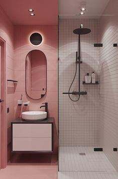 Home Room Design, Dream Home Design, Home Interior Design, House Design, 1980s Interior, Bathroom Design Luxury, Bathroom Design Small, Modern Bathroom, Small Bathroom Inspiration