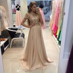 2016 New Arrival Long Gold Prom Dresses With Hand Beading Chiffon A-Line Cap Sleeves Vestido De Festa For Party
