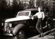 """In the early 1950s """"Deck Out"""" was a term for restyling a car by adding extra ornamentation and accessories. This photo taken in Oslo Norway in June  of 1960 shows Kalle Johansen next to his decked out 1936 Ford cabriolet. Kalle has dressed his Ford up with a Fox tail in the antenna extra fog lights and a Blaupunkt lady in the grille. The photo was taken by Steinbruvannet at Grorud a little lake located about 5 minutes away from the #Kustomrama """"Headquarter"""" #gasolinemagazine…"""
