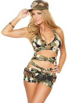 Do you want to dress up in a sexy soldier girl costume for Halloween this year? This Army girl costume is super sexy and seductive! Green camouflage halter top and hip hugging shorts.